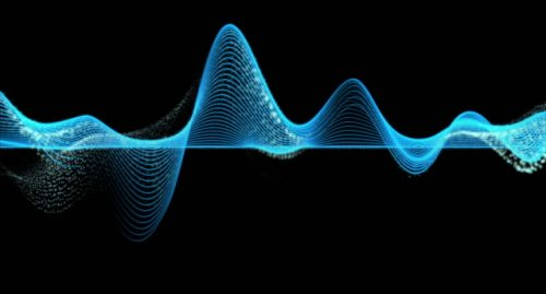 Abstract blue graph wave line particle over dark background, digital technology and innovation concept, 4k clip